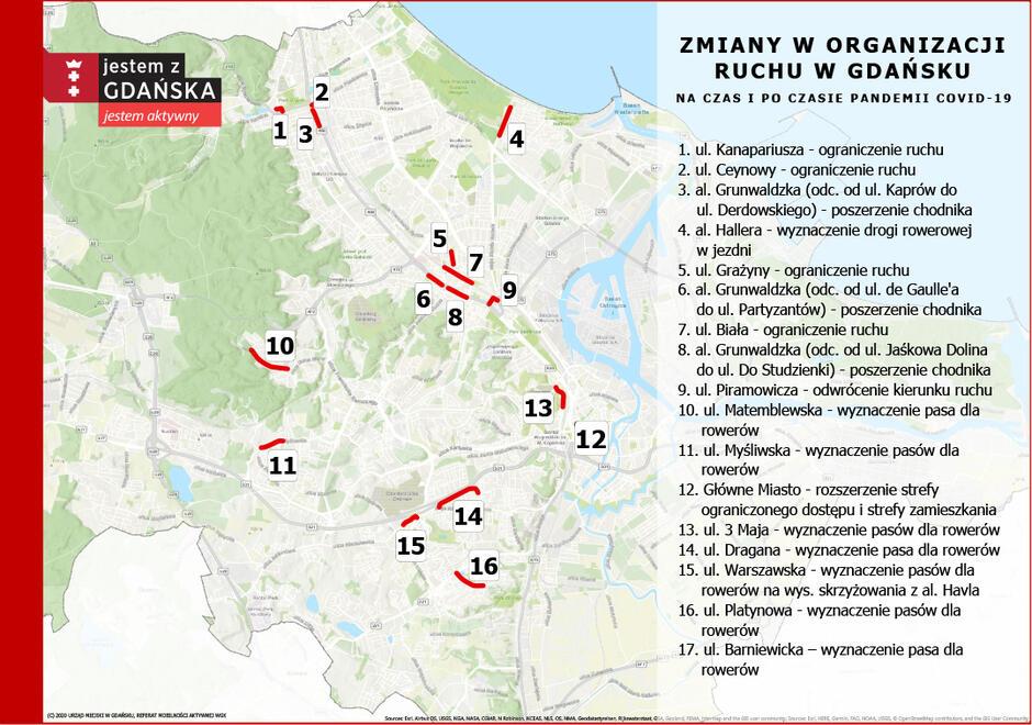 mapa - zmiany COVID Gdańsk