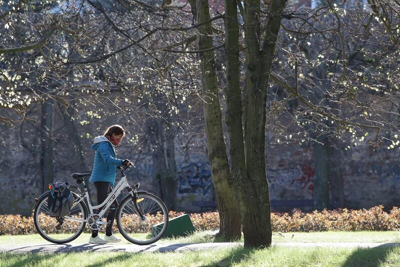 Jadąc rowerem po mieście, pamiętaj o konieczności zasłonięcia nosa i ust maseczką. Na zdjęciu rowerzystka w maseczce w Parku Oliwskim w roku 2020.