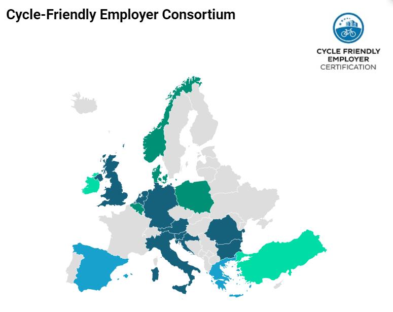 Grafika przedstawiająca mapę krajów, realizujących certyfikację pracodawców