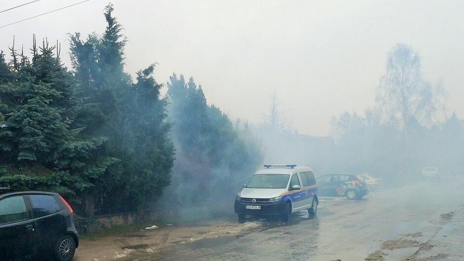 zadymiona ulica radiowóz straży miejskiej zaparkowane samochody drzewa