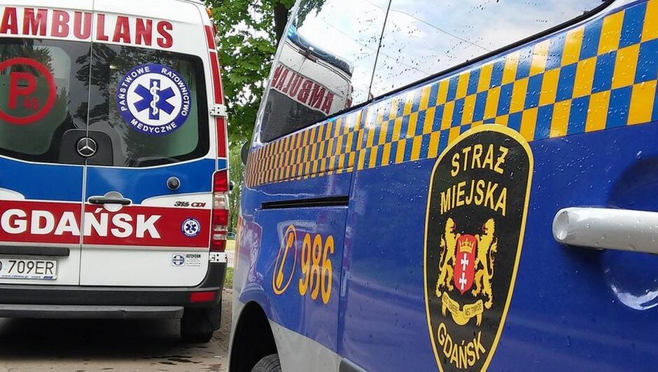 fragment ambulansu i radiowozu straży miejskiej drzewo