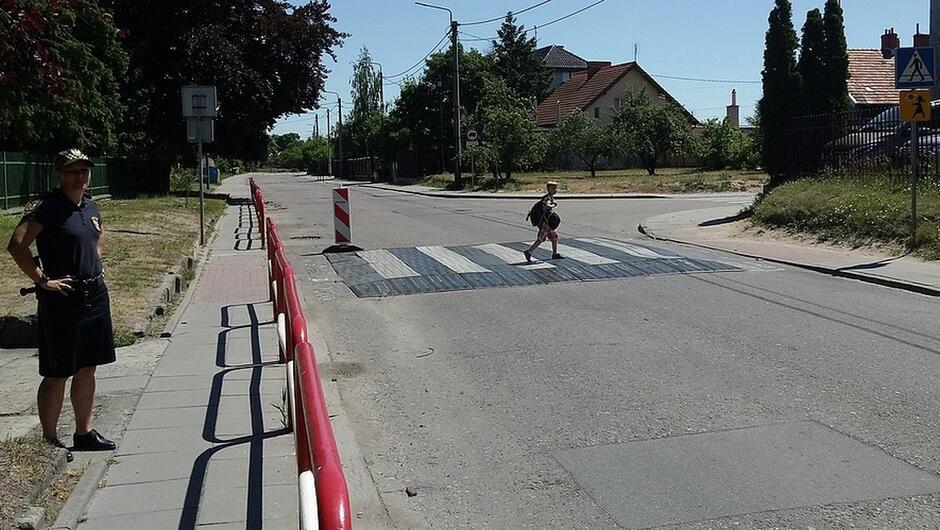 ulica Sówki strażniczka dziecko na przejściu dla pieszych drzewa domy słupy z linią energetyczną znaki drogowe