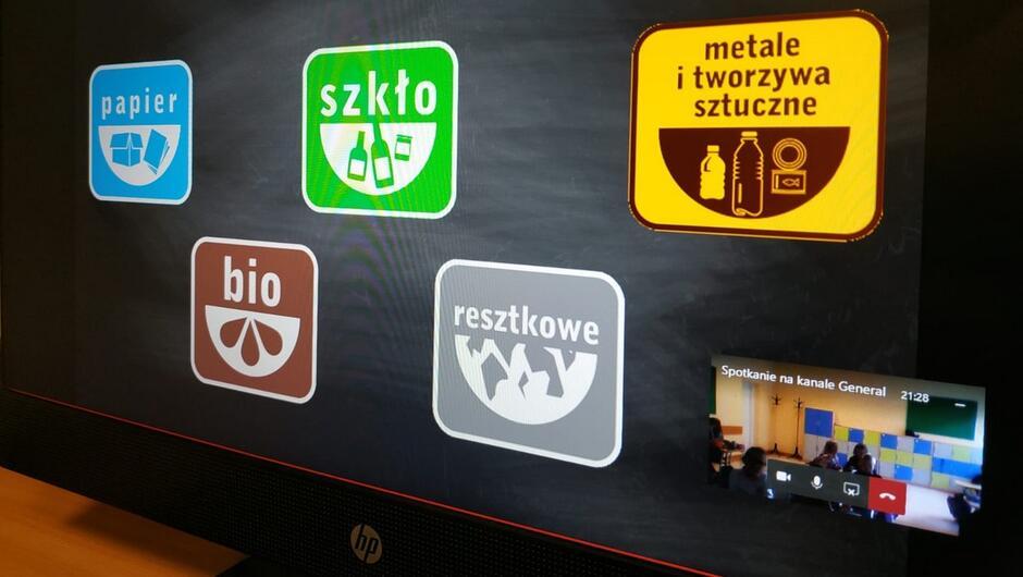 ekran monitora widok z kamery w klasie etykiety z opisem materiałów do recyklingu