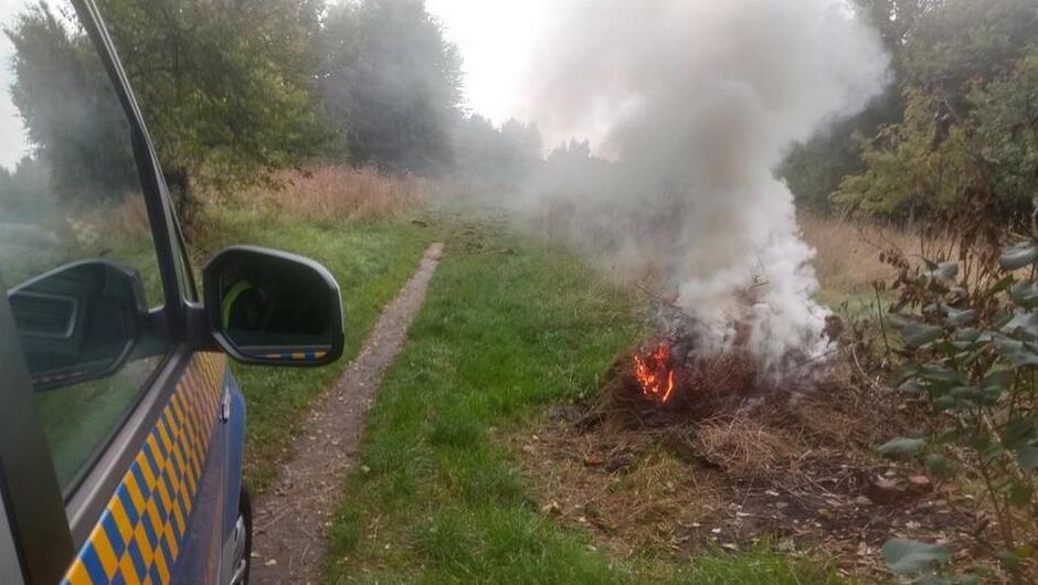 bok radiowozu ognisko zarośla drzewa