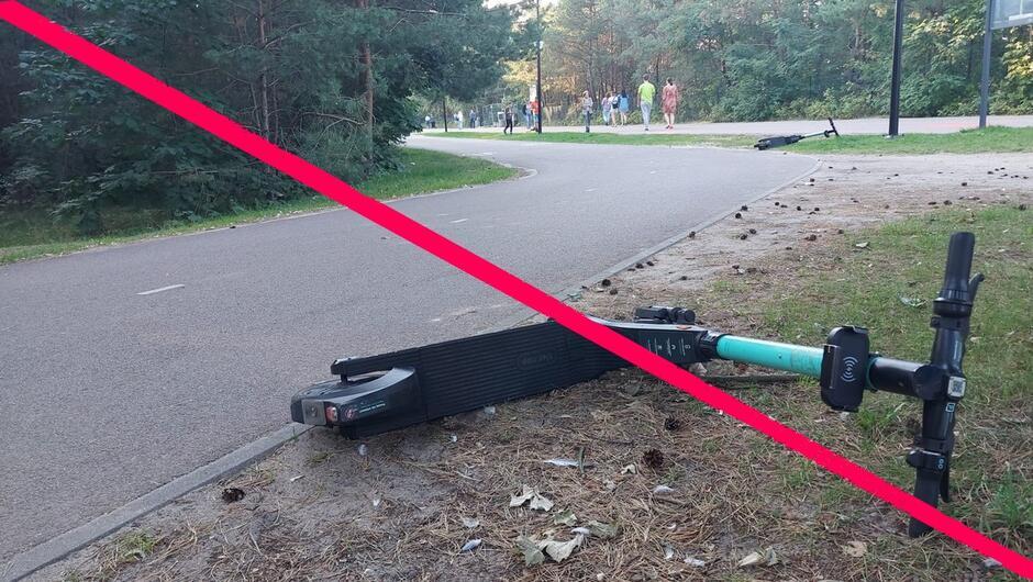 Przewrócone hulajnogi ściezka rowerowa piesi las 2.0