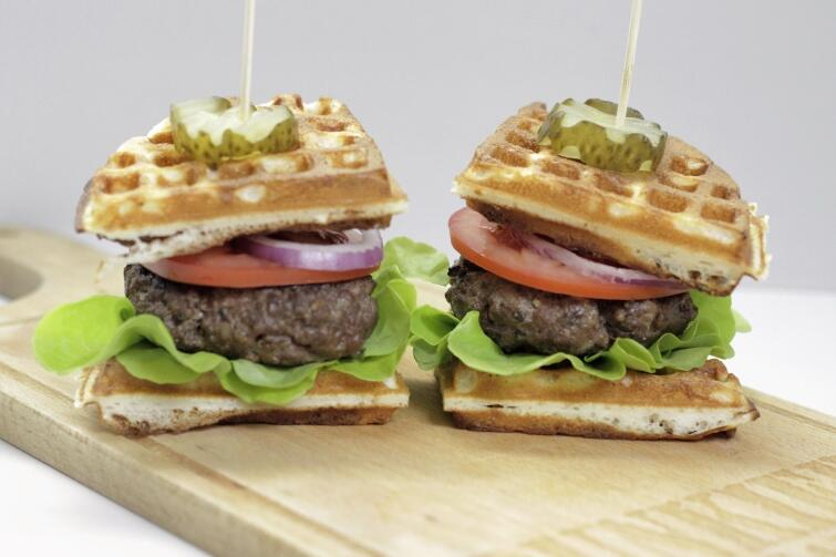 A classic burger served in a Belgian waffle