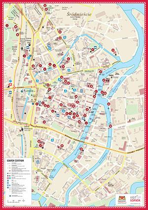 Mapa Centrum Gdańska / A3 map / A3-Karte / Карта A3