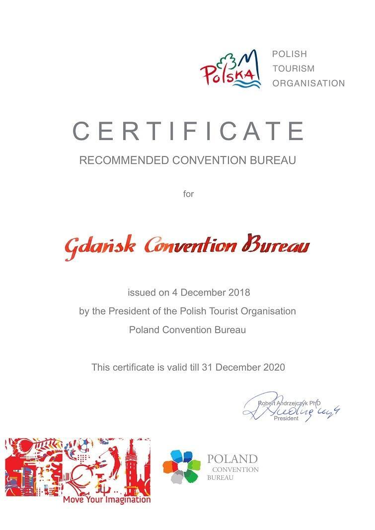 Certyfikat dla Gdansk Convention Bureau