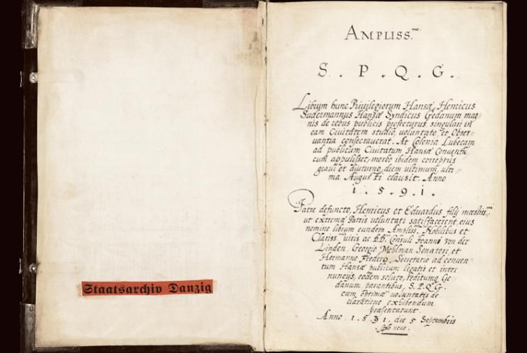 Strona tytułowa odpisu z 1591 roku przywilejów nadanych Hanzie w latach 1252–1567