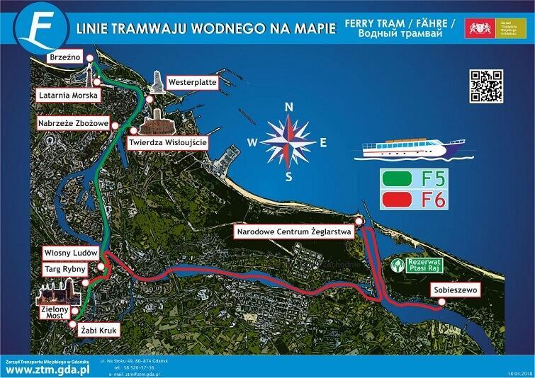 linie tramwaju wodnego w Gdańsku mapa