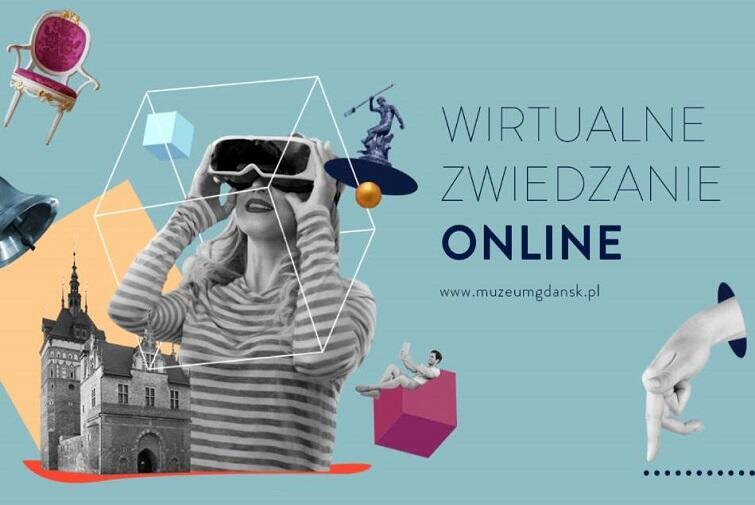 Grafika przedstawia kobietę w pasiastej koszulce na seledynowym tle w okularach VR. W tle Katownia