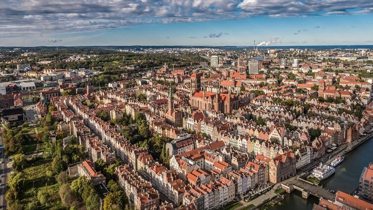 Gdańsk z lotu ptaka - widok na Śródmieście