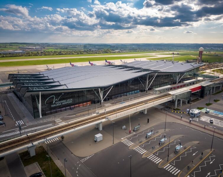 Zdjęcie przedstawia terminal portu lotniczego gdańsk z drona. W tle zaparkowane na płycie samoloty