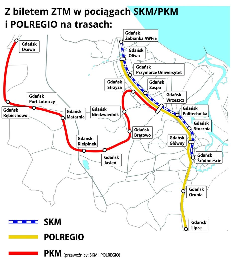 Mapka połączeń SKM, PKM i POLREGIO