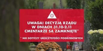 Rząd zdecydował: cmentarze zamknięte. Wycofanie dodatkowej oferty komunikacyjnej na Wszystkich Świętych w sobotę, 31.10.2020, niedzielę, 01.11.2020 i poniedziałek, 02.11.2020